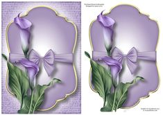 Gold Edged Mat & Bow - Purple Calla Lilies by Anne Lever This lovely A5 sized topper has an extra layer, which can be used as a standalone…