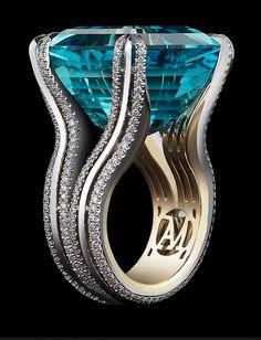 Alexandra Mor's one-of-a-kind Ode to Enchanted Light ring, set with an extraordinary 27.24ct Asscher-cut Intense bright blue-green aquamarine.