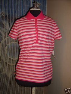 St Jonh's Bay striped polo top med blouse new
