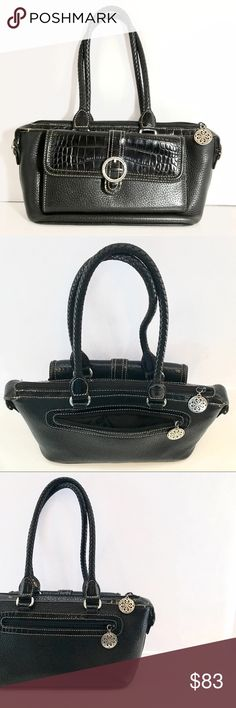 ✨New Stock✨ Crocodile Black Leather Satchel Luxe croco embossed leather in the front, back zipper and top zipper. Silver hardware and white stitching. Front wallet organizer compartment. Leather stitched straps. Inside organizer compartments. Overall bag is pebbled leather. Slight blemish on front organizer panel and slight wear and tear on hardware and zipper area from use. Measurements: 12.5 x 5 Brighton Bags Satchels