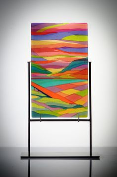 DOROTHY HAFNER - Magic Hour, 2015 multi-layered fused glass panel, stainless steel pedestal  (25 x 43 x 1.6 cm (glass only)