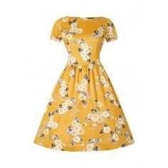 Robe Pin-Up Rétro Rockabilly Eloise Floral Jaune Cute Dresses, Vintage Dresses, Beautiful Dresses, Vintage Outfits, Floral Tea Dress, Yellow Floral Dress, Floral Dresses, 1950s Fashion, Vintage Fashion