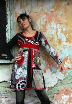 "M ""PopArt"" Artprint bunte Recycling Top Tunika Kleid Hippie boho"