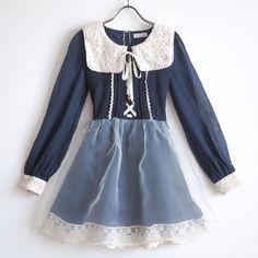 LIZ LISA Autumn Winter Ribbon OP Dress Tulle Lace up Lolita Hime gyaru Sz0 Japan…