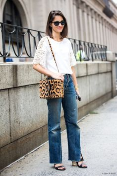 Maria Dueñas Jacobs // Lace sleeve tee, leopard bag, vintage style jeans & sandals #style #fashion #streetstyle #nyc