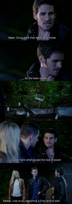 """Look at you becoming a 21st century man."" Emma and Hook - 4 * 2 ""White Out"" #CaptainSwan"