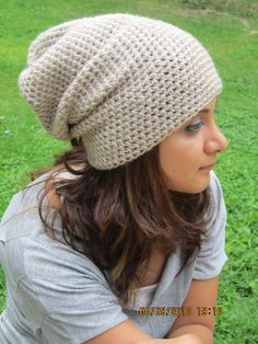 Long slouchy crochet beanie in Beige for man or woman by Fischerka, $20.00