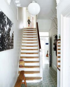 Victorian house with original period features and tiled hallway-- stairs Victorian Hallway, Victorian Terrace, Victorian House, Victorian Townhouse, Wooden Staircases, Wooden Stairs, Painted Stairs, Style At Home, Modern Victorian Homes