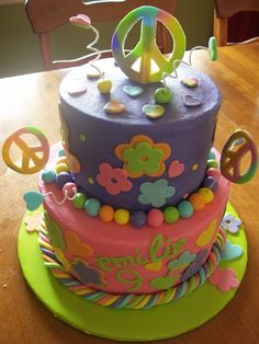 9 years old girls birthdays cakes | Hippie birthday cake for a 9-year-old girl. Butter cake with vanilla ...
