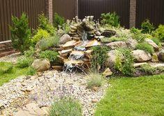 rocks garden with waterfall