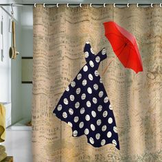 Red Umbrella Shower Curtain - Valentine's Umbrella Gift Ideas for Lovers