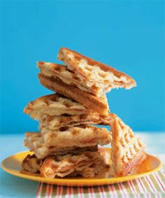 Want a sandwich you know your kid won't trade away at lunch? Smoked ham, some cloth-bound cheddar and a waffle iron. You're welcome.         Waffled Ham and Cheese Sandwiches Recipe  at Epicurious.com
