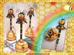 canetas decoradas + canetas de abelhas + lembrancinha abelha