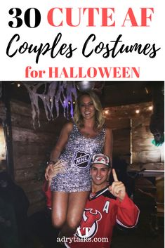 Need help convincing your boyfriend to match with you for Halloween? Here are 30 insanely cute ideas that he won't be able to say no to! Be the cutest couple at the annual Halloween party with these cute Halloween costume ideas. Hot Couple Costumes, Scary Couples Costumes, Couples Halloween Outfits, Unique Couple Halloween Costumes, Theme Halloween, Cute Halloween Costumes, Sorority Halloween Costumes, College Costumes, Halloween 2019