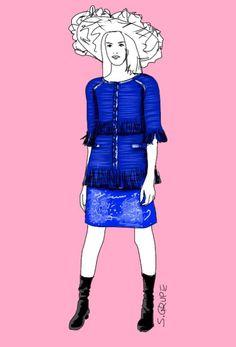 """Dieses Kostüm in angesagten """"eclectic blue"""" weist gleich mehrere Trend-Elemente der #Sommer-Mode auf. Welche das sind, erfahren Sie auf www.modefluesterin.de"""