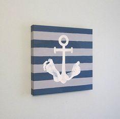 DIY Stripe Nautical Anchor Footprint Canvas Art