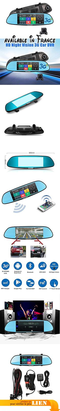 par Hellenhe 17,8cm de voiture Smart Miroir, WiFi, GPS Navigation SAT NAV, double lentille HD 1080p Dash Camera, écran tactile, Rétroviseur caméra de recul, Android 4.4+ carte SD 16Go. Quad Core CPU: mt6582Quad Core 1,3GHz, le processeur de haute performance intègre Android 5.0Lollipop systèmes intelligents, il font de la voiture DVR fonctionne plus rapidement, avec souplesse et stablely comparé à Android 4.4.. Navigation GPS: téléchargez vos favoris