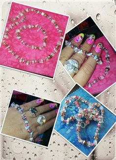 Lovely in pinks. 6inch stretch bracelet and 14 inch stretch necklace. Petite and beautiful