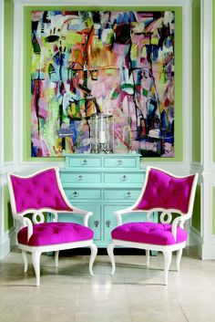 bold colors and chairs. Love the art