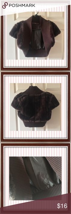 MISS POSH SHRUG MISS POSH brown faux fur shrug. Fully lined with cap sleeves. Like new! miss posh Jackets & Coats
