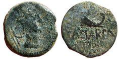 Ancient Coins - KINGDOM of MAURITANIA-NUMIDIA. Juba II AE17, Caesarea. Africa/Dolphin CAESAREA. Very rare.