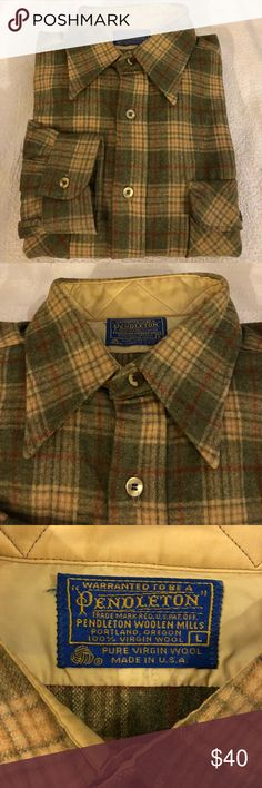 Pendleton Olive, Rust & Tan Plaid Wool Shirt L Pendleton Olive Green, Tan and Rust Plaid Wool Shirt size L! Great condition! Please make reasonable offers and bundle! Ask questions :) Pendleton Shirts Casual Button Down Shirts