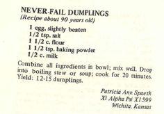 A good dumpling recipe Healthy recipes - Food Recipe Retro Recipes, Old Recipes, Vintage Recipes, Cooking Recipes, Family Recipes, Dinner Recipes, Best Dumplings, Stew And Dumplings, Vegetarian