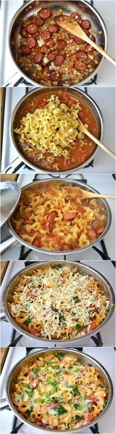 Creamy Sausage and Spinach Pasta Skillet Recipe (Paleo Pork Chicken)
