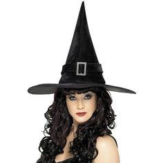 Halloween Buckle Witch Hat ($9.07) ❤ liked on Polyvore featuring costumes, witch halloween costumes, womens costumes, witch costume, salem witch costume and lady costumes
