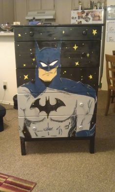 What a terrific idea Carry out your décor with a custom-painted dresser! Ava - Batman Decoration - Ideas of Batman Decoration - What a terrific idea Carry out your décor with a custom-painted dresser! Available from Piercing Silence on Etsy. Hand Painted Furniture, Funky Furniture, Repurposed Furniture, Furniture Projects, Kids Furniture, Furniture Making, Furniture Makeover, Decopage Furniture, Boy Room
