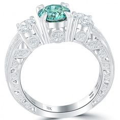 2.68 Carat Fancy Blue & White Round Cut Three Stone Diamond Engagement Ring 18k - Thumbnail 1
