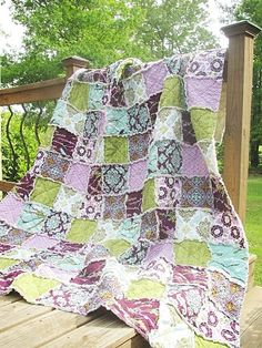 Rag, Aviary 2 in lilac, purple green turquoise, ALL NATURAL, fresh modern handmade bedding. Chic Bedding, Quilt Bedding, Purple Quilts, Charm Quilt, Queen Size Quilt, Shabby Chic Fabric, Patchwork Blanket, Quilts For Sale, Green Turquoise