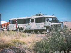 Anarchist direct action RV, seen at Arcosanti, Arizona.