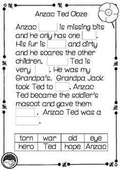 Meet the Anzacs ~ A week of literacy activities to