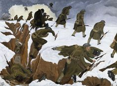 John Nash R. Over the Top. The Artists Rifles going 'over the top' at Marcoing, near Cambrai. Nash was one of only twelve men to be spared death or wounding in this action. This painting was loaned to the National Army Museum in the The Snow, John Singer Sargent, World War One, First World, Inverness, Ww1 Art, John Nash, Top Paintings, National Gallery