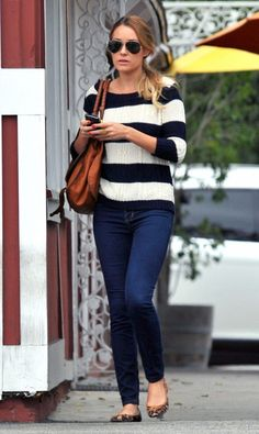 love the stripes with the leopard flats