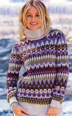 Теплый пуловер с жаккардовым узором вязаный крючком