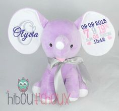 Personalized elephant   Www.hiboutchoux.com Elephants, Teddy Bear, Toys, Children, Baby, Animals, Activity Toys, Young Children, Animaux