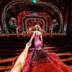 "Famous photographer Murad Osmann shot one of his famous ""follow me to"" photos with his wife Natalia Zakharova at the Zarkana theatre."