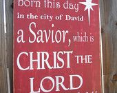 Christmas Sign, Religious, Red and White, Christ The Lord, Savior is Born, North Star