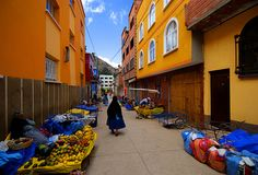 a market street in the village of Copacabana on the shores of Lake Titicaca
