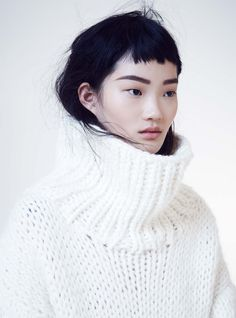 Pull blanc à col roulé Soft Focus: Hyun Ji By Nicole Bentley For Marie Claire Australia June 2015