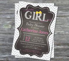 Printable Baby Girl Shower invitation chevron grey by DigiBabyDesign, $12.00