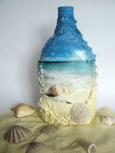 thebestartt.com / декупаж бутылок на морскую тему