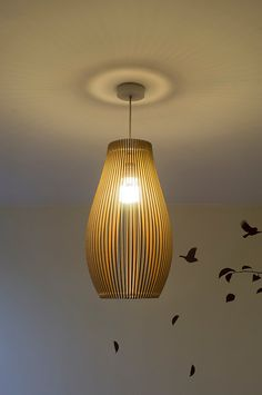 Porcelain-inspired laser cut wooden lampshade No.2