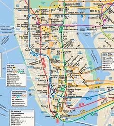 New York City Subway (Lower Manhattan) New York City Map, New City, City Maps, Nyc Subway Map, New York Subway, Ellis Island, Lower Manhattan, World Trade Center, Nyc Subway