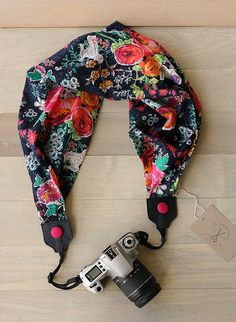 scarf camera strap  market square by bluebirdchic on Etsy