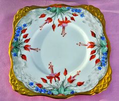 Royal Tuscan Terracotta Fuscia Vintage China Cake Plate
