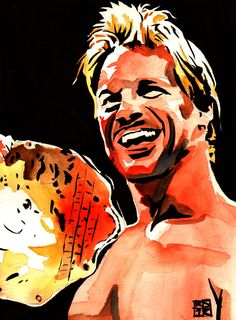"Chris Jericho l Ink and watercolor on 9"" x 12"" watercolor paper l #WWE"