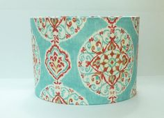Medium Drum Lamp shade in Aqua and Coral by LampShadeDesigns, $90.00